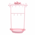 Pink Rose Bracelet Jewelry Rack with Tray Earrings Necklaces Rings Holder Display