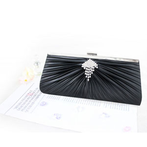 Pleated Perfection Evening Purse Black