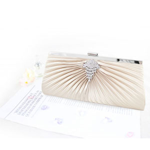 Pleated Perfection Evening Purse Champagne