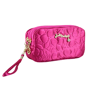 Retro Chic Cosmetic Bag with Wristlet Hot Pink