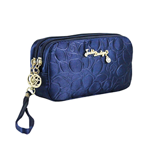 Retro Chic Cosmetic Bag with Wristlet Navy Blue