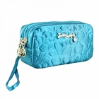 Retro Chic Cosmetic Bag with Wristlet Turquoise