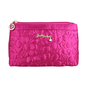 Retro Chic Flat Cosmetic Bag Hot Pink
