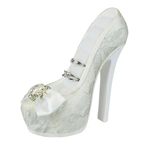 Romance Lace Collection Bridal Shoe Ring Holder