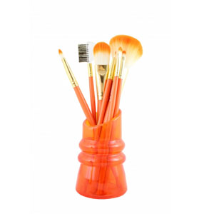 Sassy and Bright 7pc Makeup Brush and Holder Set Coral