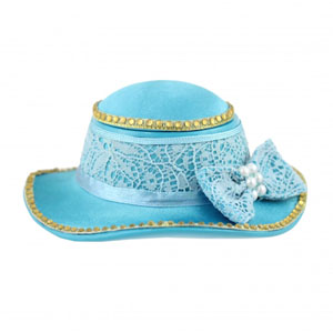 Sassy and Bright Hat Jewelry Box Blue