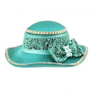 Sassy and Bright Hat Jewelry Box Emerald