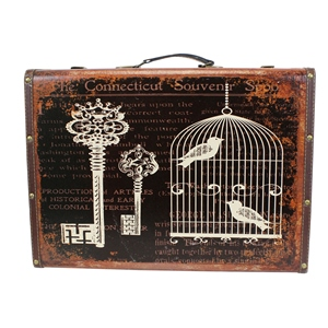 Set of 2 Connecticut Birdcage Souvenir Decorative Wooden Storage Box Suitcases Vintage Style
