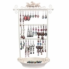 Shabby Chic Ivory Rose Earring Rack with Tray Jewelry Organizer