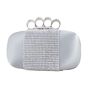 Shimmering Crystals Clutch Purse Silver