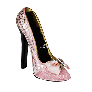 Sleek and Shiny Collection Heeled Shoe Ring Holder Pink