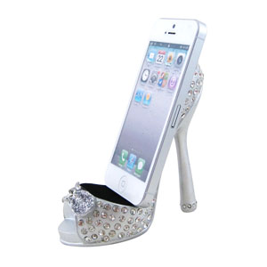 Sparkling Crystals Bow Cell Phone Shoe Holder Silver