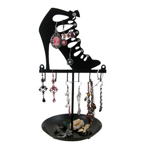 Stiletto Cage Strap Boot Metal Jewelry Tree Stand Black