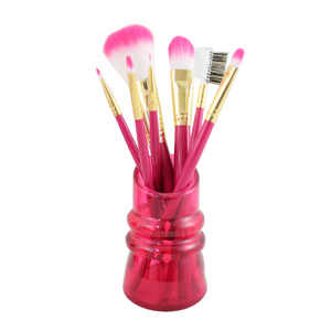 Summer Bliss Make Up Brushes and Holder Hot Pink