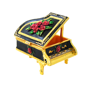Victorian Grand Piano Trinket Box Jeweled Black