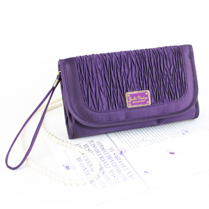 Vintage Allure Foldover Hanging Cosmetic Bag Purple
