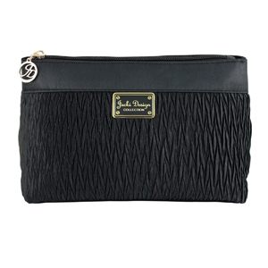 Vintage Allure Pleated Cosmetic Bag Black