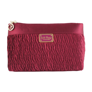 Vintage Allure Pleated Flat Cosmetic Bag Burgundy