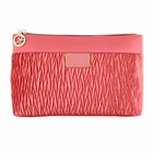 Vintage Allure Pleated Flat Cosmetic Bag Coral