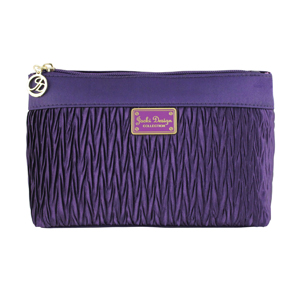Vintage Allure Pleated Flat Cosmetic Bag Purple