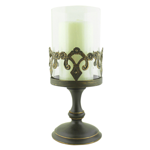 Vintage Bronze Fleur De Lis Pillar Candle Holder