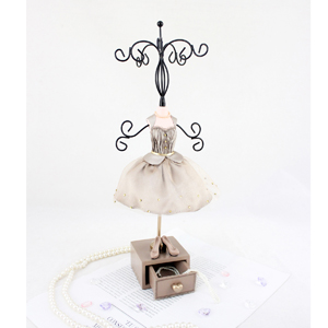 Vintage Jewelry Tree Stand with Drawer Beige