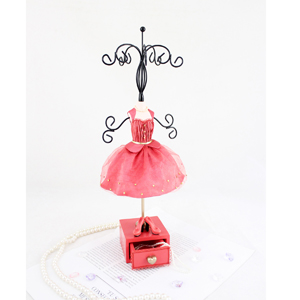 Vintage Jewelry Tree Stand with Drawer Coral