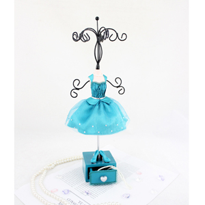 Vintage Jewelry Tree Stand with Drawer Turquoise