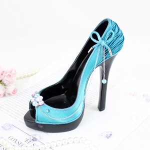 Vintage Peep Toe Shoe Phone Holder Turquoise