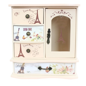 Wooden Paris Jewelry Mini Armoire Jewelry Box Organizer with Drawer Shabby Chic