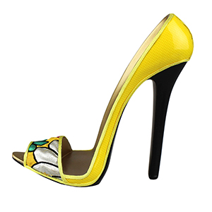 Yellow Stiletto Shoe Cell Phone iPod Holder Abstract Flowers