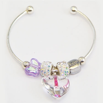 Glitter Heart Silverplated Bracelet