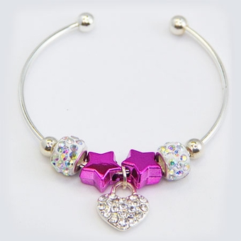 Rhinestone Heart Silverplated Bracelet