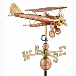 Biplane Copper Weathervane