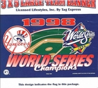 NY Yankees 1998 WS Champs Flag 3x5