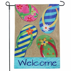 Summer Flip Flops Welcome Garden Flag