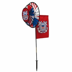 US Coast Guard Dual Spinner Wheels with Garden Flag