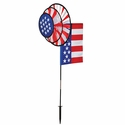 USA Flag Dual Spinner Wheels with Garden Flag