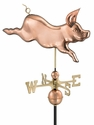 Whimsical Pig Copper Weathervane