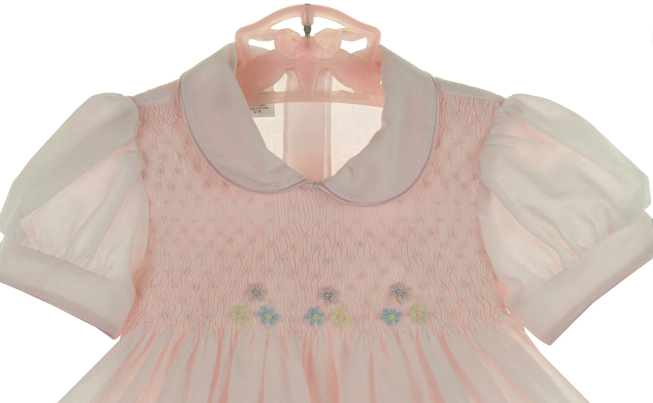 Garden Of Angels Pink Smocked Dress With Pastel