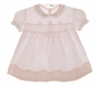 """<img src=""""https://p11.secure.hostingprod.com/@grammies-attic.com/ssl/images/blue-sold-1.gif""""> Heirloom 1940s Pale Pink Smocked Dress with Lace and Embroidery"""