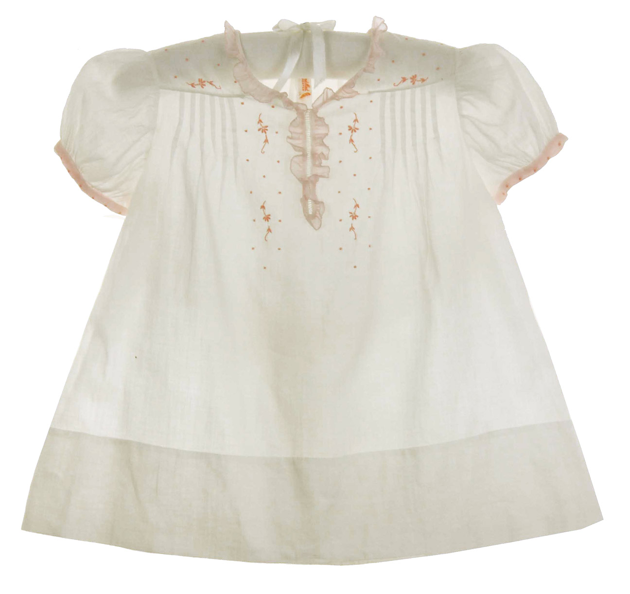 heirloom 1940s Feltman Brothers pink and white baby dress