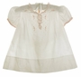 """<img src=""""https://p11.secure.hostingprod.com/@grammies-attic.com/ssl/images/blue-sold-1.gif""""> Heirloom 1940s Unworn Feltman Brothers White Dress with Pink Embroidery and Delicate Pink Ruffles"""