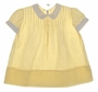 """<img src=""""https://p11.secure.hostingprod.com/@grammies-attic.com/ssl/images/blue-sold-1.gif""""> Heirloom 1940s Yellow Dress with White Fagoted Collar and Cuffs"""