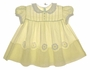 """<img src=""""https://p11.secure.hostingprod.com/@grammies-attic.com/ssl/images/blue-sold-1.gif""""> Heirloom 1950s Pale Yellow Baby Dress with Lace Trimmed Embroidered Flowers"""