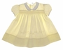 """<img src=""""https://p11.secure.hostingprod.com/@grammies-attic.com/ssl/images/blue-sold-1.gif""""> Heirloom 1950s Pale Yellow Smocked Baby Dress with Embroidered Flowers"""