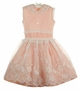 Heirloom 1950s Peach Dress with Elaborately Embroidered Organdy Overlay
