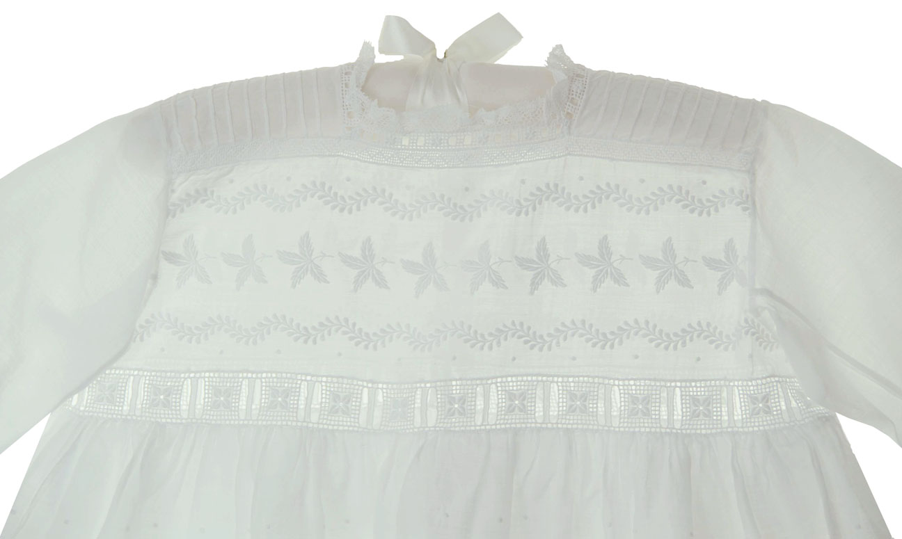 heirloom Edwardian white linen baby dress heirloom early