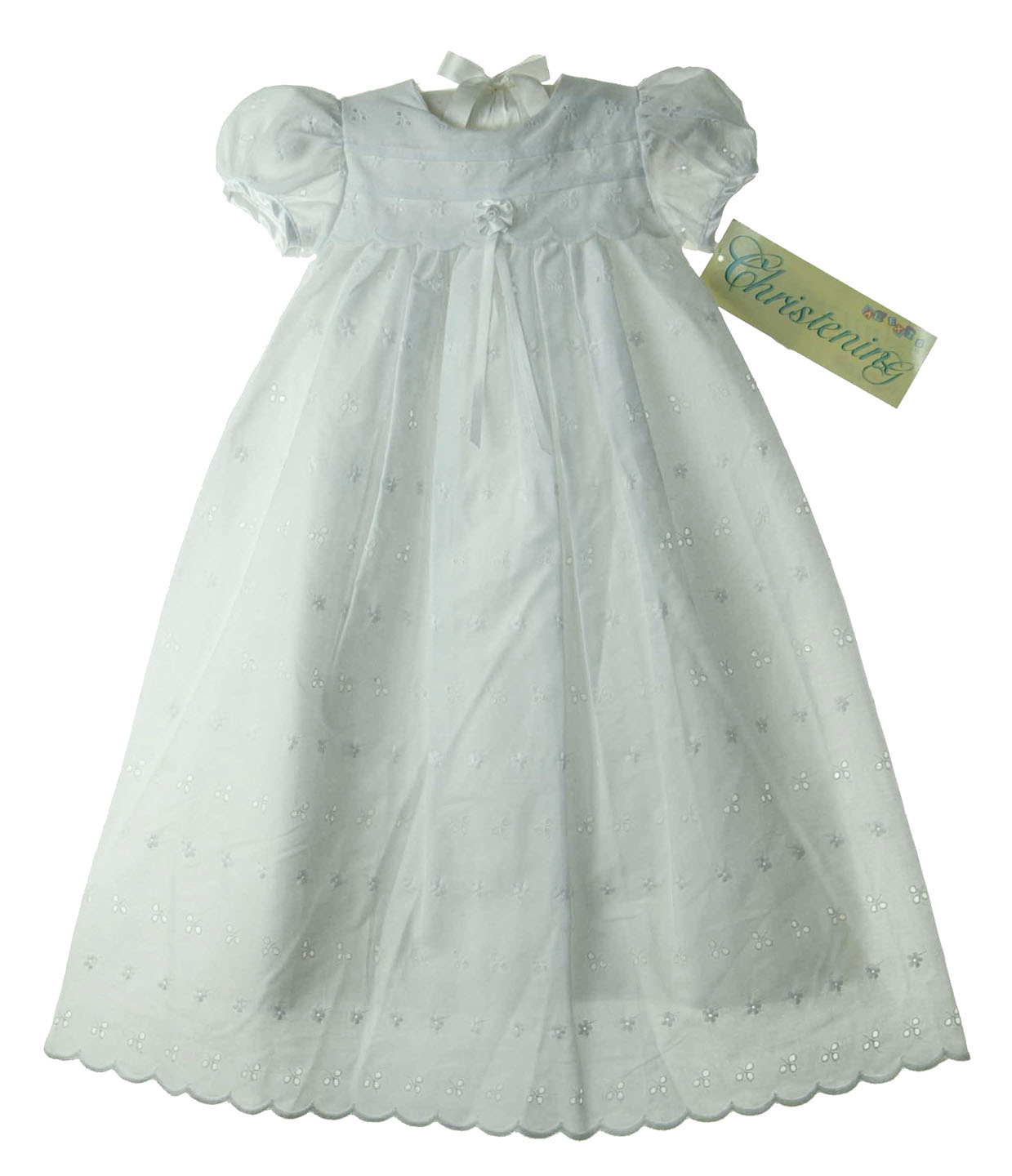 Alexis white eyelet christening gown for baby girls,baby girls white ...