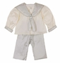 NEW Amacello Blue and Ivory Silk Sailor Suits with Matching Sailor Hat